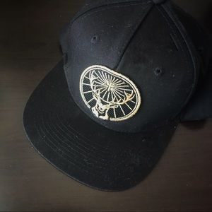 Jagermeister flat top black hat with gold logo